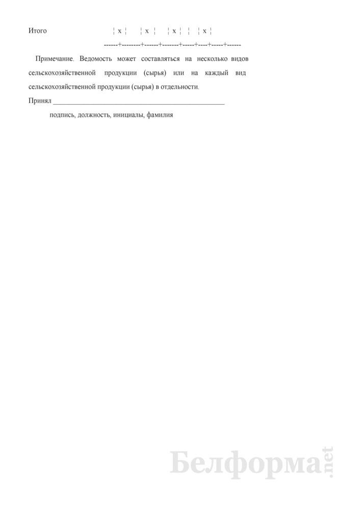 Ведомость на закупку сельскохозяйственной продукции и сырья у населения. Специализированная форма ПК-12. Страница 2
