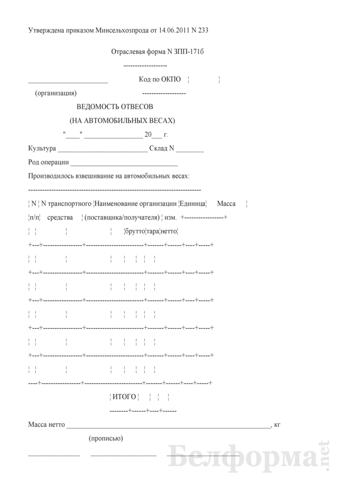 Ведомость отвесов (на автомобильных весах) (Форма № ЗПП-171б). Страница 1