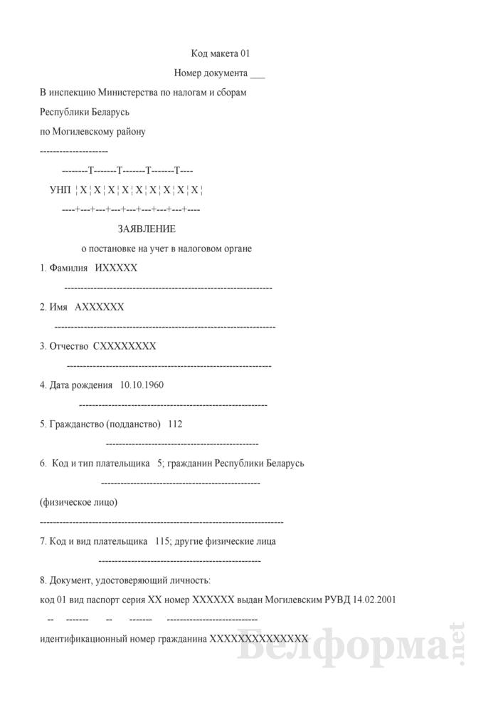 Заявление о постановке на учет в налоговом органе (Образец заполнения). Страница 1