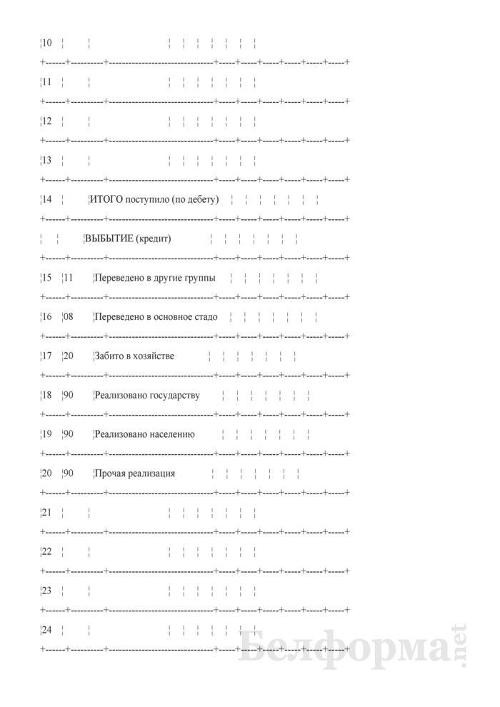 "Журнал-ордер по кредиту счета 11 ""Животные на выращивании и откорме"". Форма № 14-АПК. Страница 3"