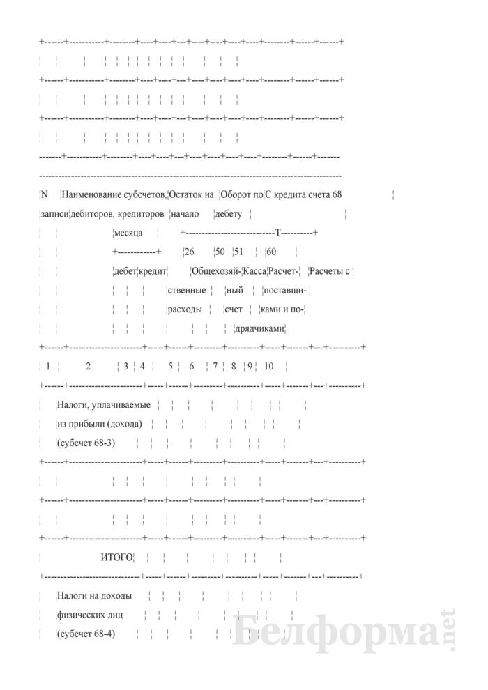 """Журнал-ордер по кредиту счетов 18 """"Налог на добавленную стоимость по приобретенным товарам, работам, услугам"""", 68 """"Расчеты по налогам и сборам"""". Форма № 8-АПК. Страница 3"""