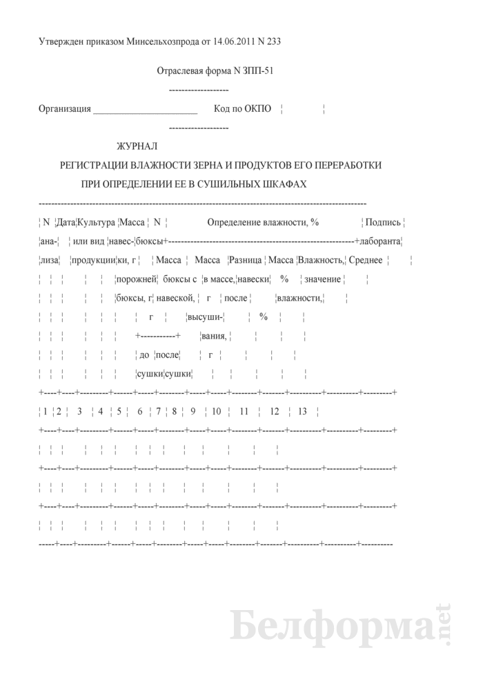 Журнал регистрации влажности зерна и продуктов его переработки при определении ее в сушильных шкафах (Форма № ЗПП-51). Страница 1