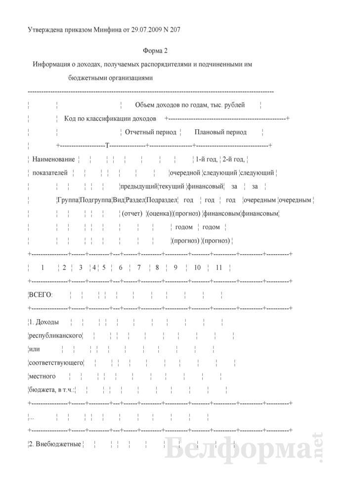 Информация о доходах, получаемых распорядителями и подчиненными им бюджетными организациями. Страница 1