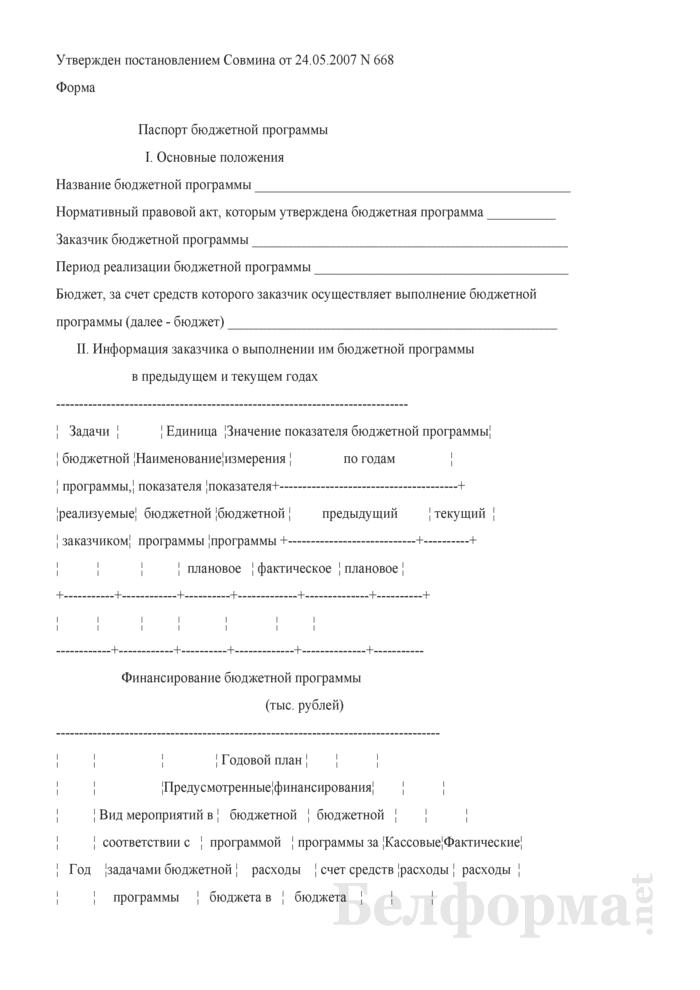 Паспорт бюджетной программы. Страница 1