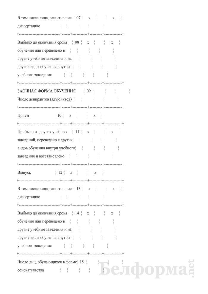 План по сети, штатам и контингентам по подготовке научных работников высшей квалификации. Форма 3-11п. Страница 2