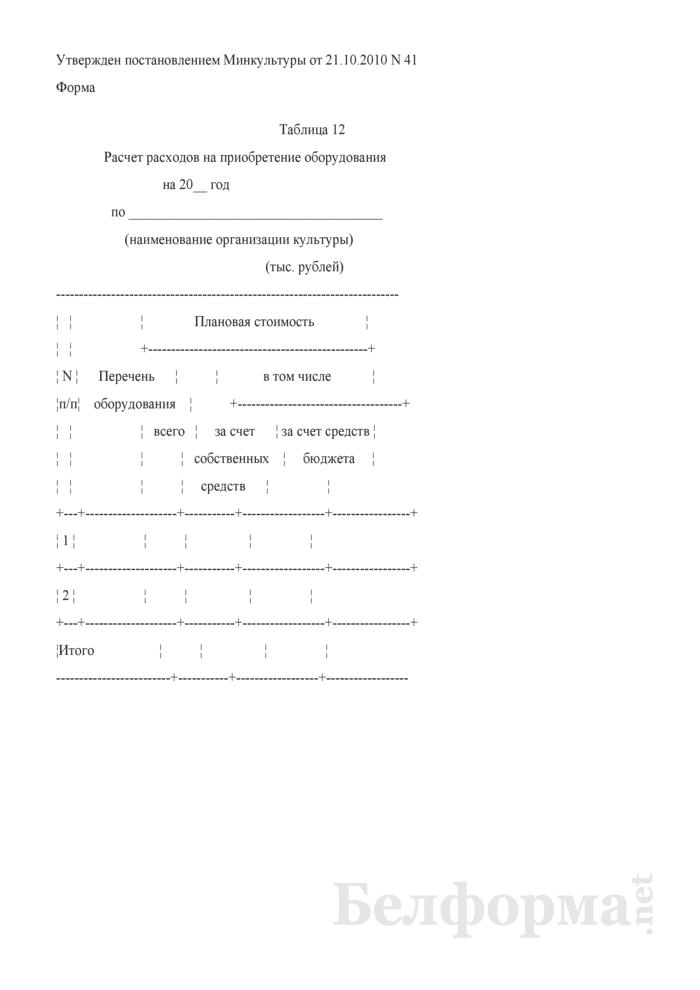 Расчет расходов на приобретение оборудования (Таблица 12). Страница 1