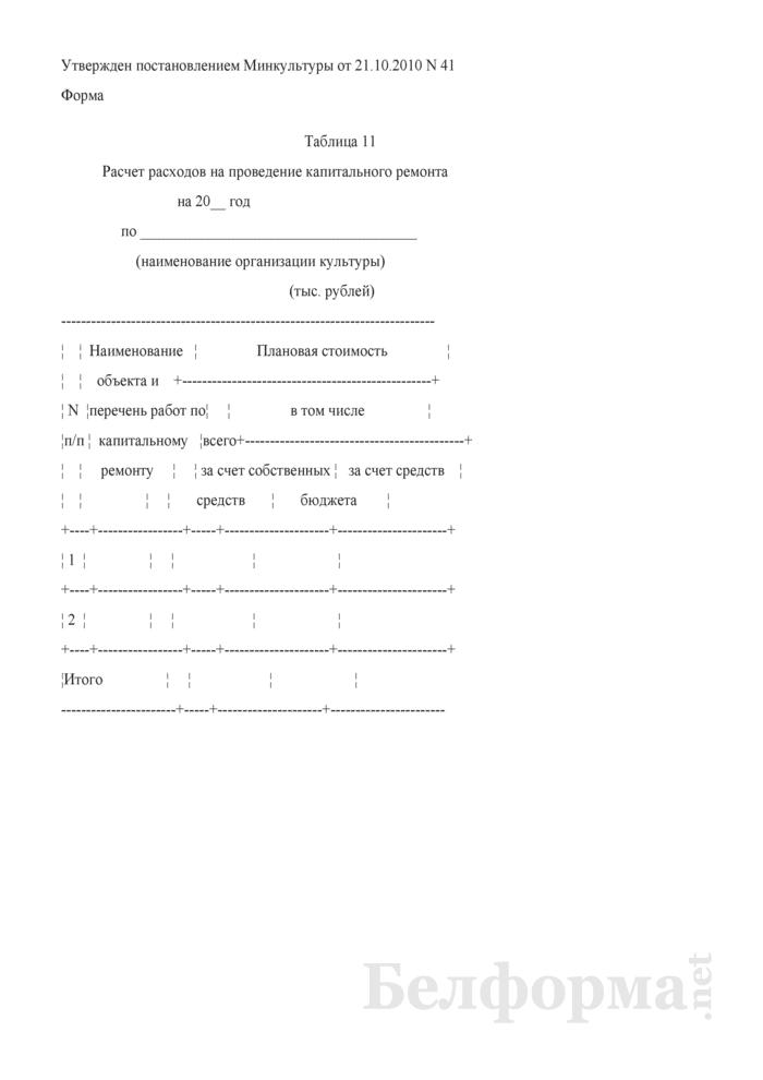 Расчет расходов на проведение капитального ремонта (Таблица 11). Страница 1