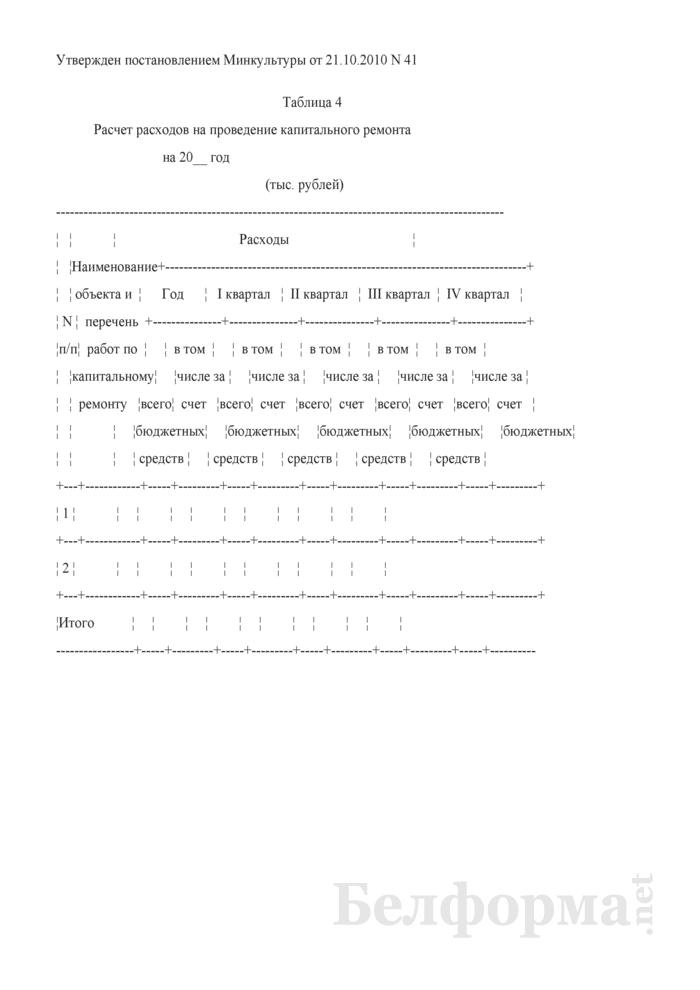 Расчет расходов на проведение капитального ремонта (Таблица 4). Страница 1