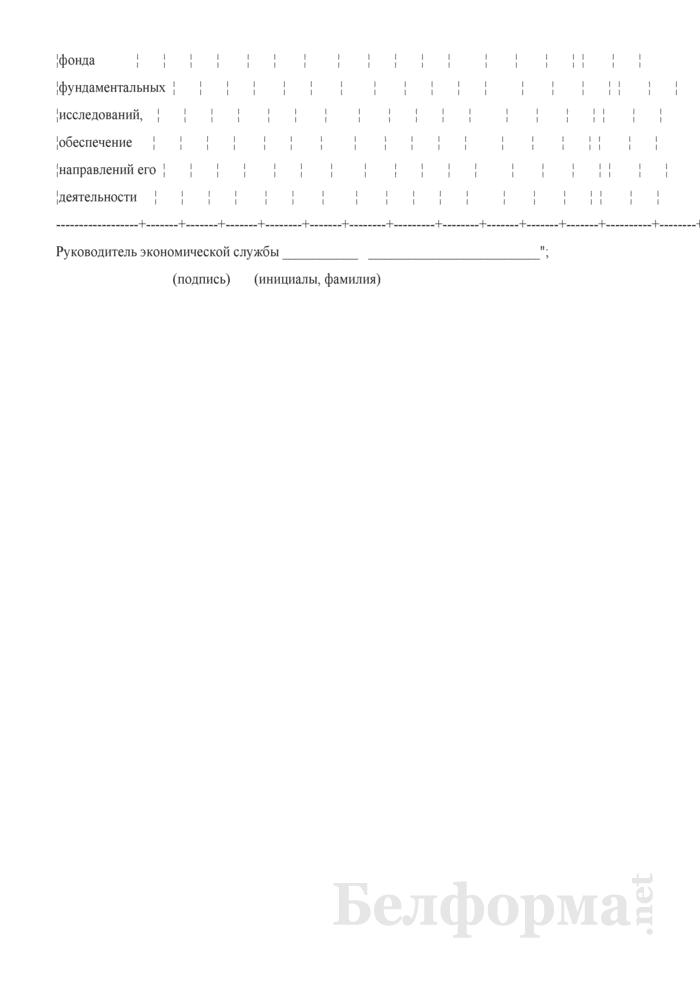 Расчет расходов по обеспечению уставной деятельности Национальной академии наук Беларуси. Форма 1-59. Страница 4