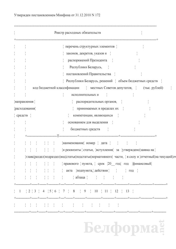Реестр расходных обязательств. Страница 1