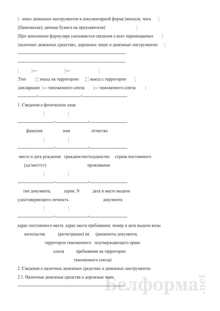 Пассажирская таможенная декларация. Страница 6
