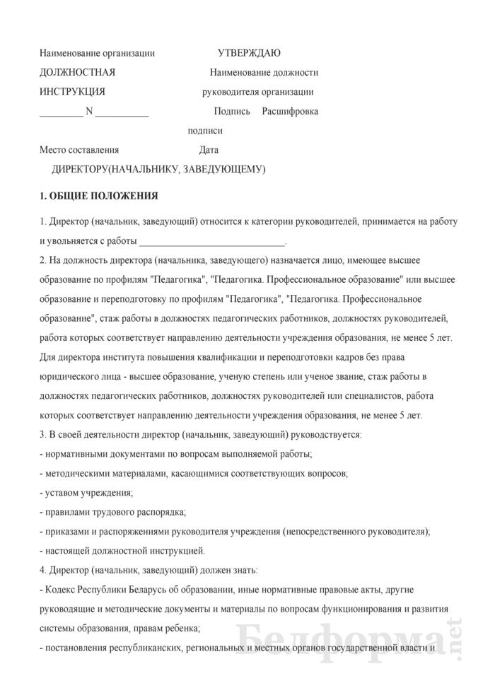 Должностная инструкция директору (начальнику, заведующему). Страница 1