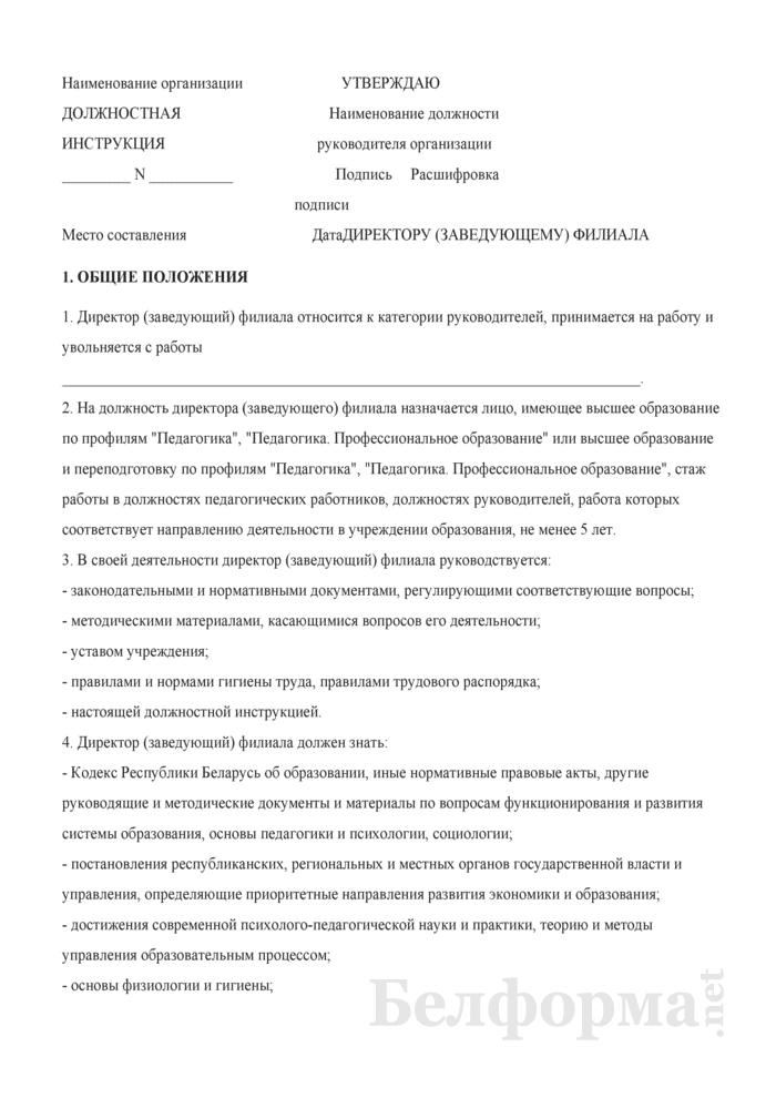 Должностная инструкция директору (заведующему) филиала. Страница 1