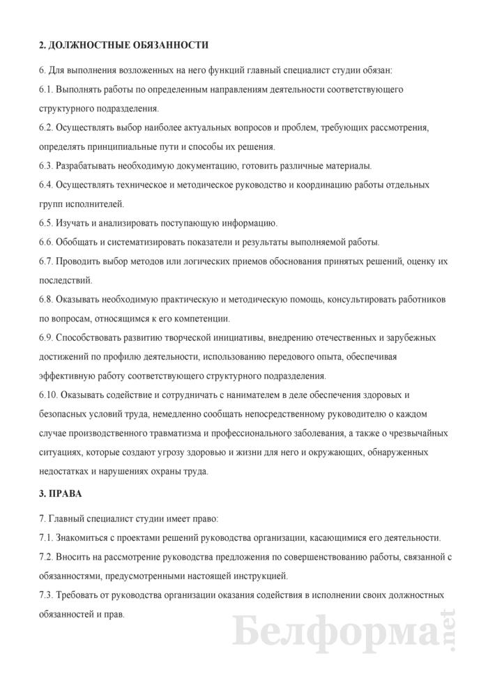 Должностная инструкция главному специалисту студии (центра, дирекции и др.). Страница 2