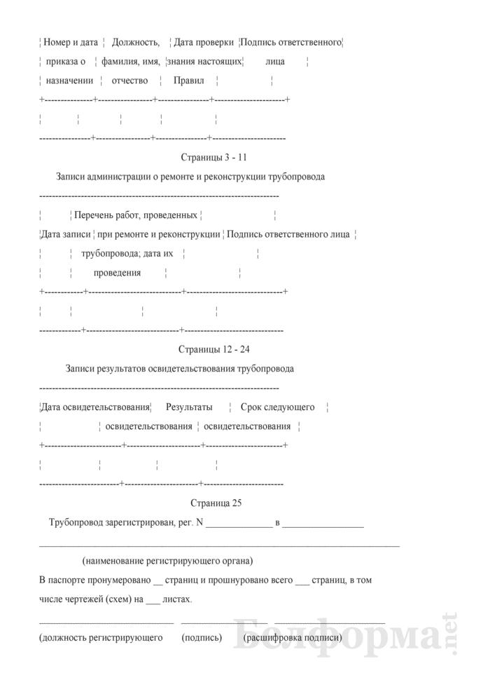 Паспорт трубопровода. Страница 2