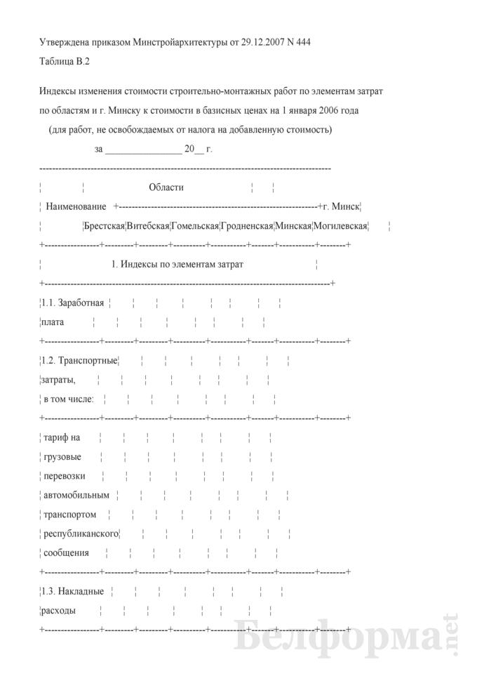 Индексы изменения стоимости строительно-монтажных работ по элементам затрат по областям и г. Минску к стоимости в базисных ценах на 1 января 2006 года (для работ, не освобождаемых от налога на добавленную стоимость). Таблица В.2. Страница 1