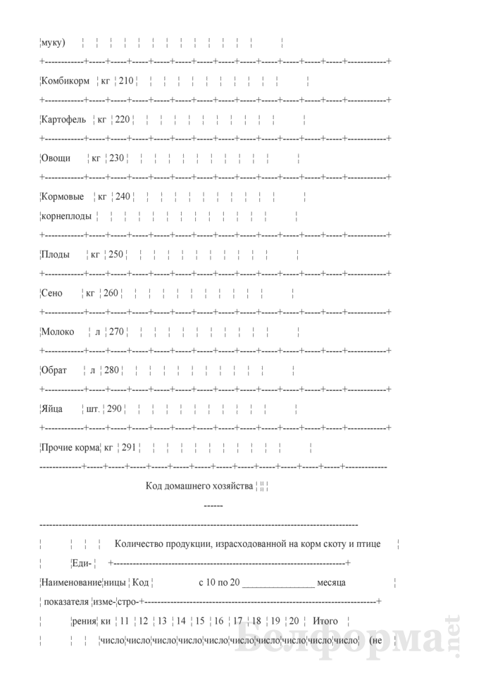 Дневник учета продукции животноводства и расхода кормов (Форма 12-сх (дх-животноводство) (месячная)). Страница 11