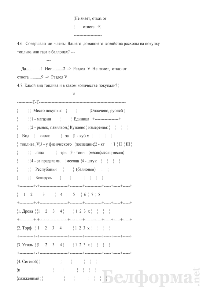 Ежеквартальный вопросник по расходам и доходам домашних хозяйств (Форма 4-дх (вопросник) (квартальная). Страница 19