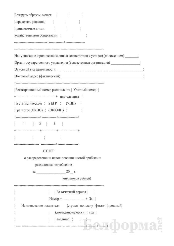 Отчет о распределении и использовании чистой прибыли и расходов на потребление (квартальная) (для Гомельской области). Страница 2
