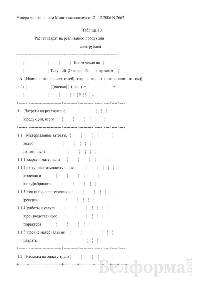 Расчет затрат на реализацию продукции (для коммерческих организаций коммунальной собственности города Минска, негосударственных коммерческих организаций, акции (доли) которых принадлежат городу Минску). Страница 1