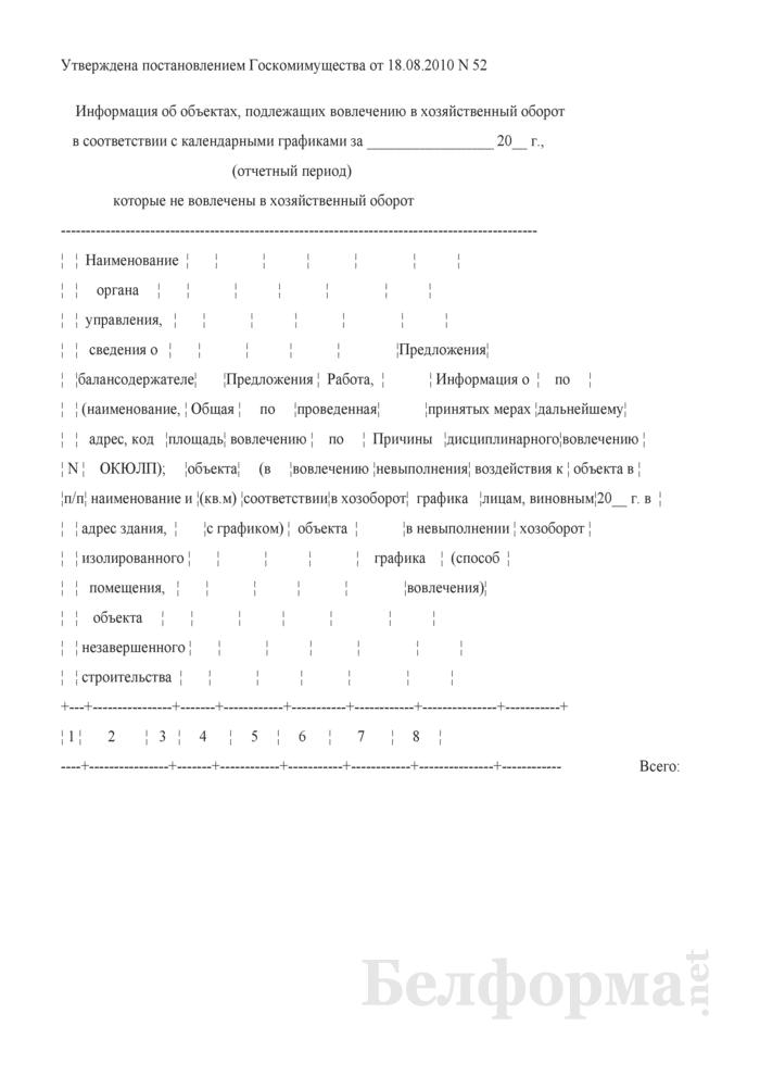 Информация об объектах, подлежащих вовлечению в хозяйственный оборот в соответствии с календарными графиками, которые не вовлечены в хозяйственный оборот. Страница 1