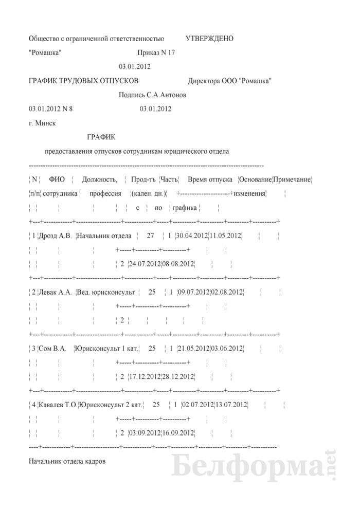 График отпусков, утвержденный приказом нанимателя (Образец заполнения). Страница 1