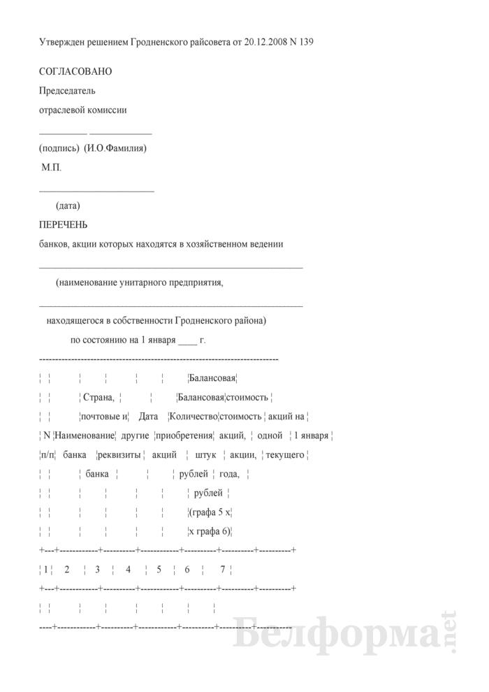 Перечень банков, акции которых находятся в хозяйственном ведении унитарного предприятия, находящегося в собственности Гродненского района. Страница 1