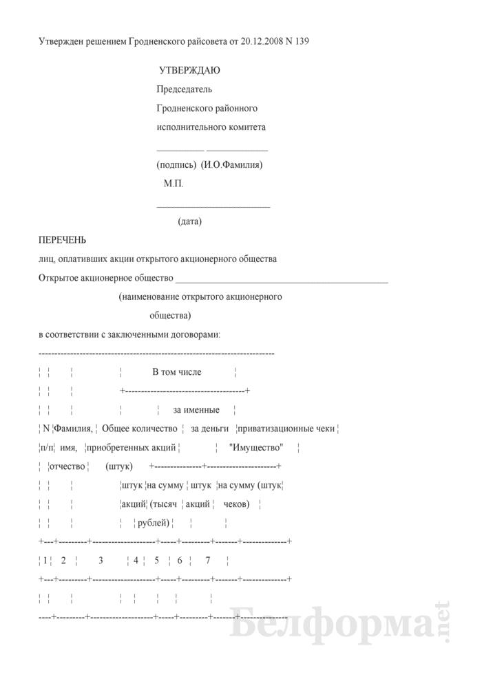 Перечень лиц, оплативших акции открытого акционерного общества, принадлежащие Гродненскому району. Страница 1