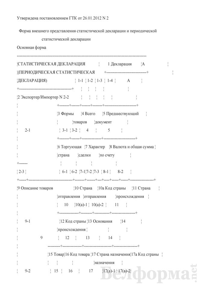 Форма внешнего представления статистической декларации и периодической статистической декларации. Страница 1