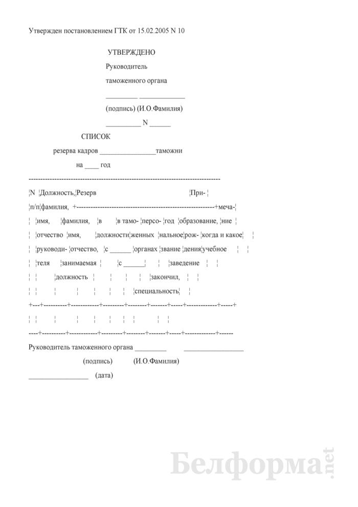 Список резерва кадров таможни. Страница 1