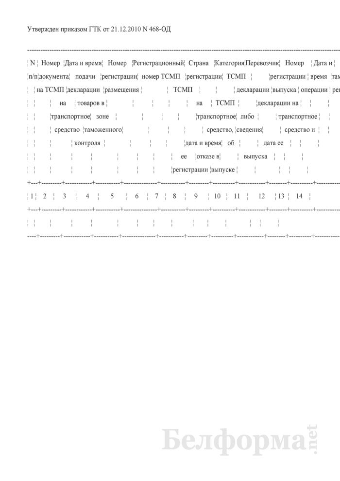 Журнал регистрации деклараций на транспортное средство. Страница 1