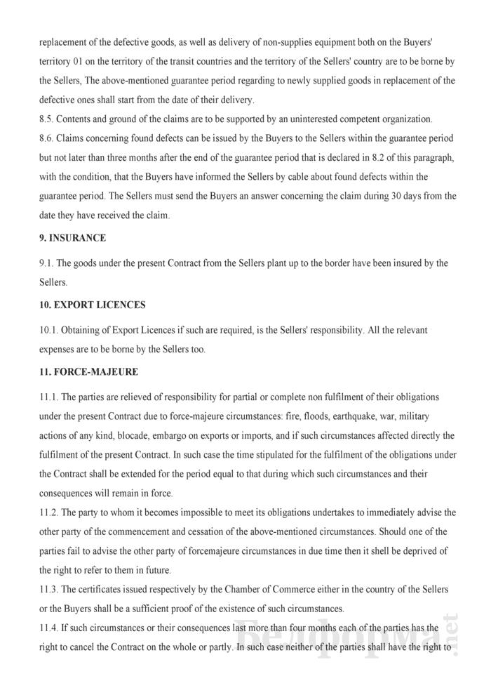 Контракт на поставку инструментов (текст на английском языке). Страница 4