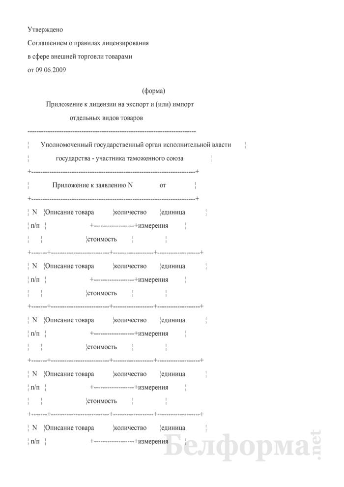Приложение к лицензии на экспорт и (или) импорт отдельных видов товаров. Страница 1