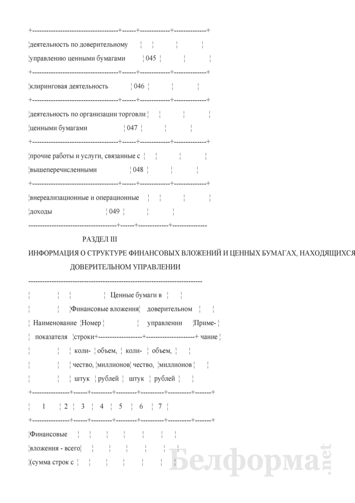 Информация о деятельности профессионального участника рынка ценных бумаг (Форма 2). Страница 11