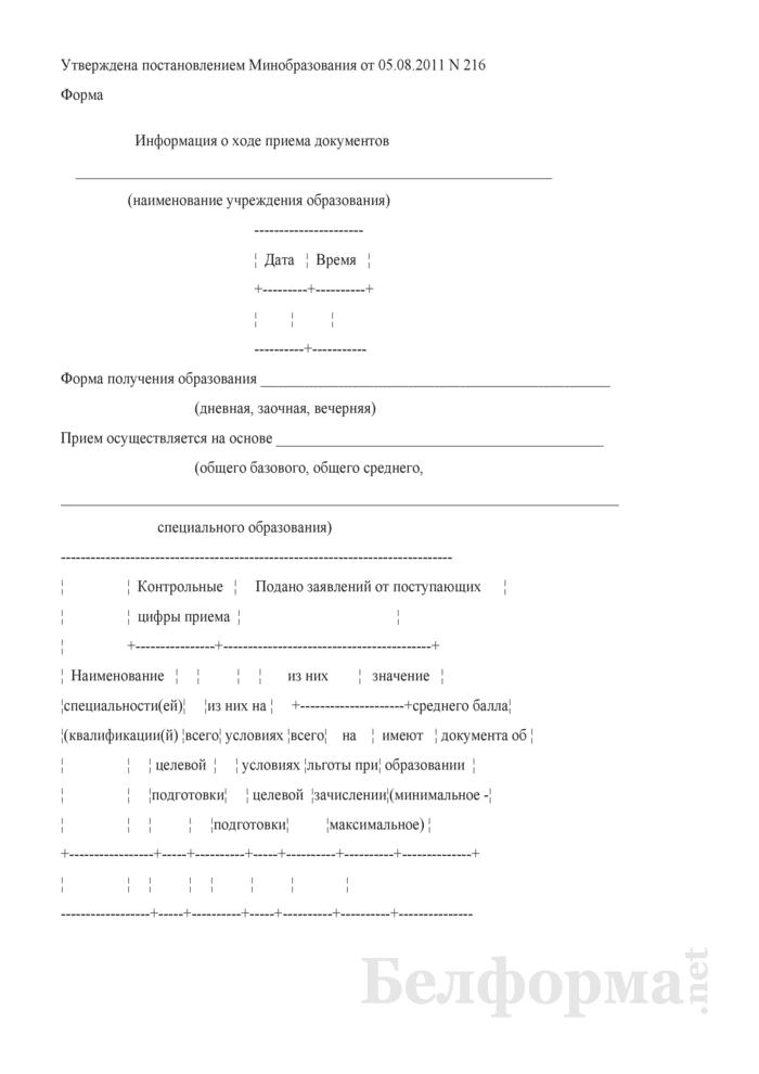 Информация о ходе приема документов (учреждения профессионально-технического образования). Страница 1