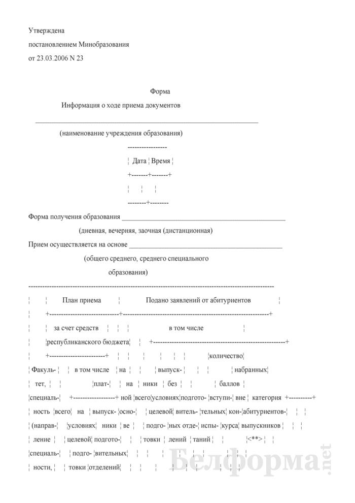 Информация о ходе приема документов (в вузах сельскохозяйственного профиля). Страница 1