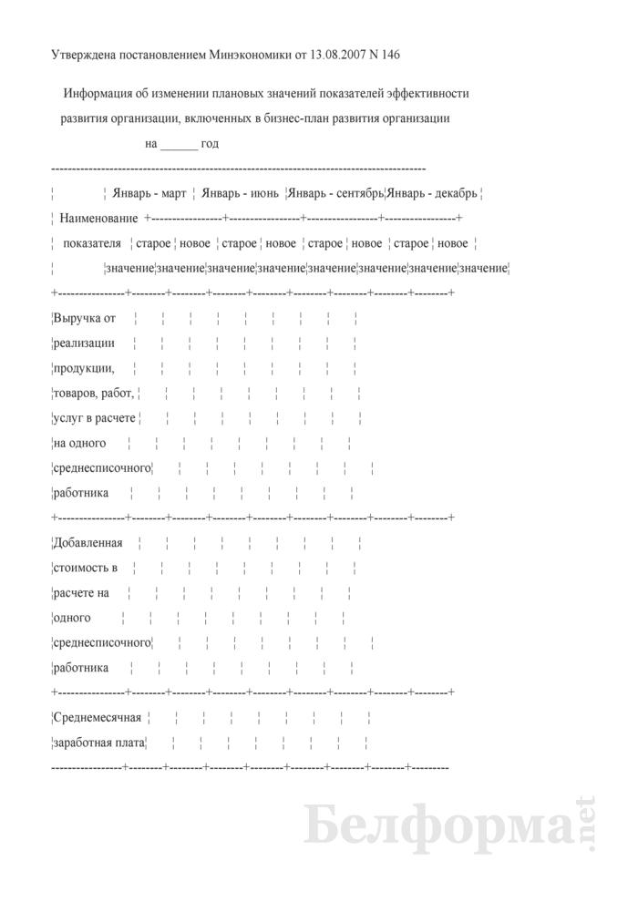 Информация об изменении плановых значений показателей эффективности развития организации, включенных в бизнес-план развития организации. Страница 1