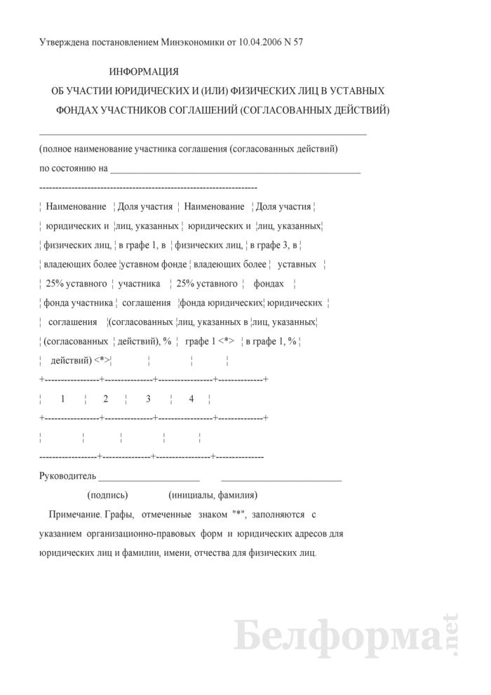 Информация об участии юридических и (или) физических лиц в уставных фондах участников соглашений (согласованных действий). Страница 1