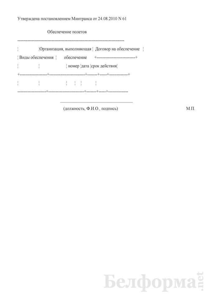 Информация по обеспечению полетов (для получения сертификата эксплуатанта). Страница 1