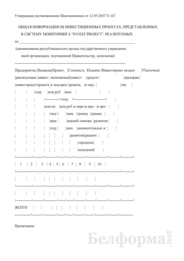 """Общая информация об инвестиционных проектах, представленных в систему мониторинга """"Invest project"""". Страница 1"""