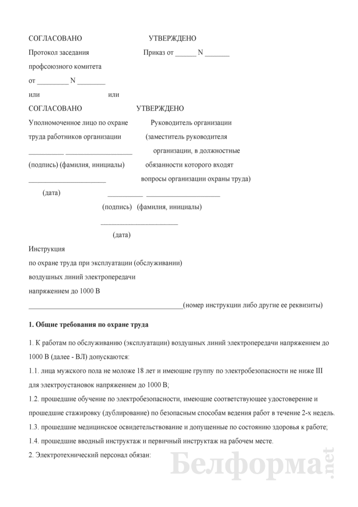 Инструкция по охране труда при эксплуатации (обслуживании) воздушных линий электропередачи напряжением до 1000 В. Страница 1