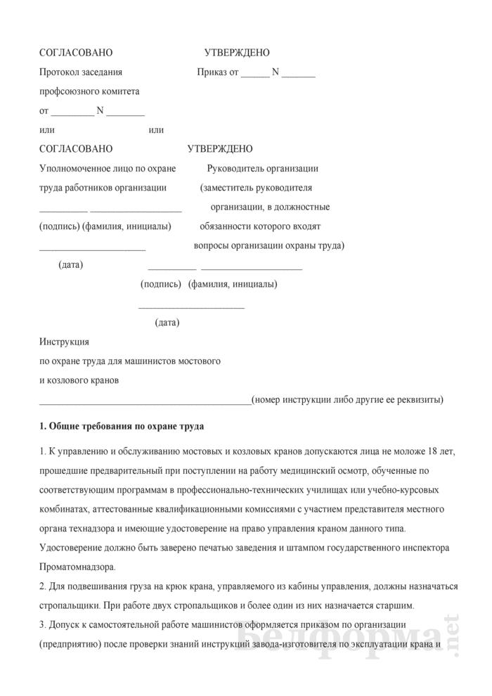 Инструкция по охране труда для машинистов мостового и козлового кранов. Страница 1