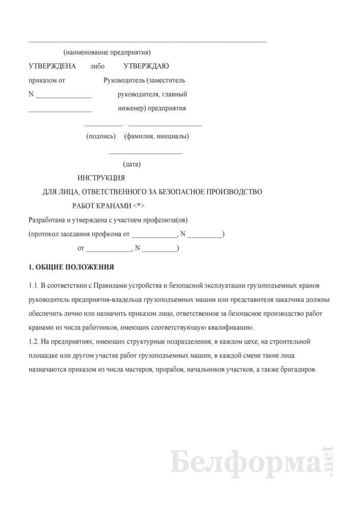 Инструкция для лица, ответственного за безопасное производство работ кранами. Страница 1