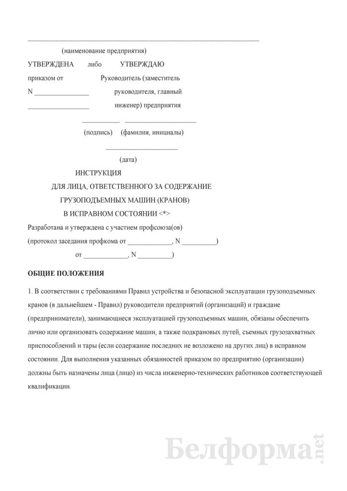 Инструкция для лица, ответственного за содержание грузоподъемных машин (кранов) в исправном состоянии. Страница 1