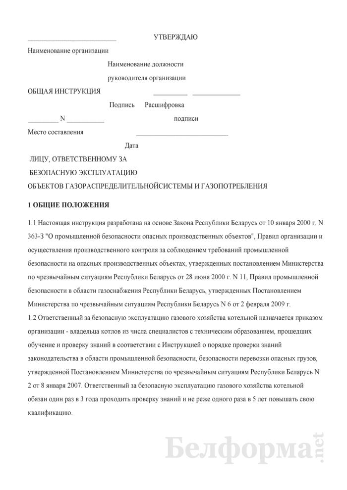 Общая инструкция лицу, ответственному за безопасную эксплуатацию объектов газораспределительной системы и газопотребления. Страница 1