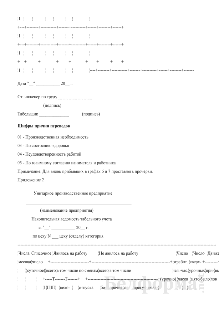 Примерная инструкция по табельному учету на предприятии. Страница 18