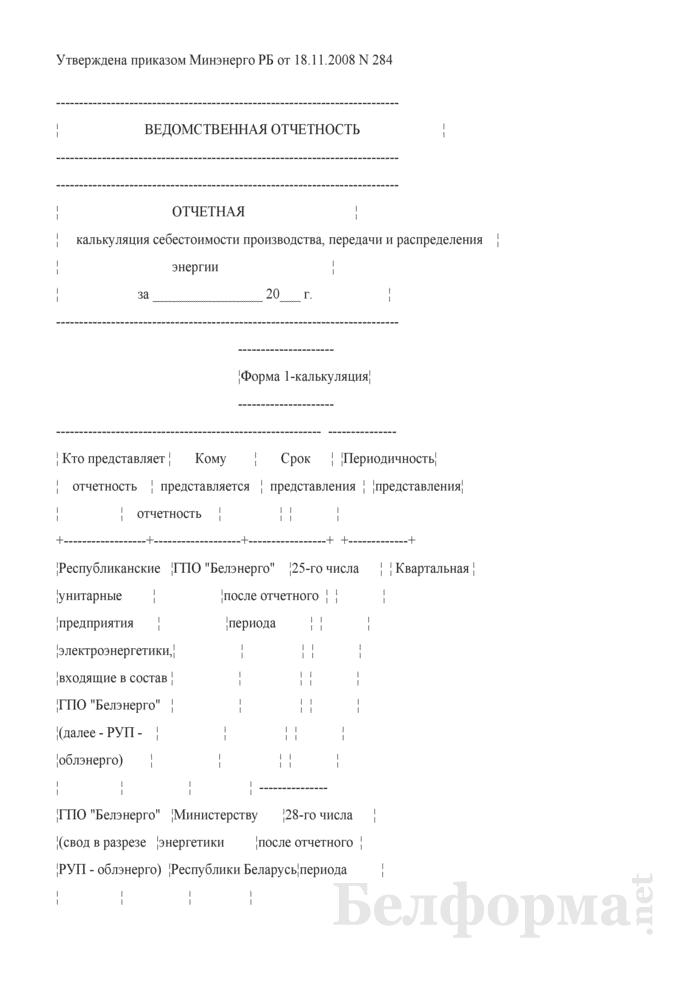Отчетная калькуляция себестоимости производства, передачи и распределения энергии. Форма № 1-калькуляция (квартальная). Страница 1