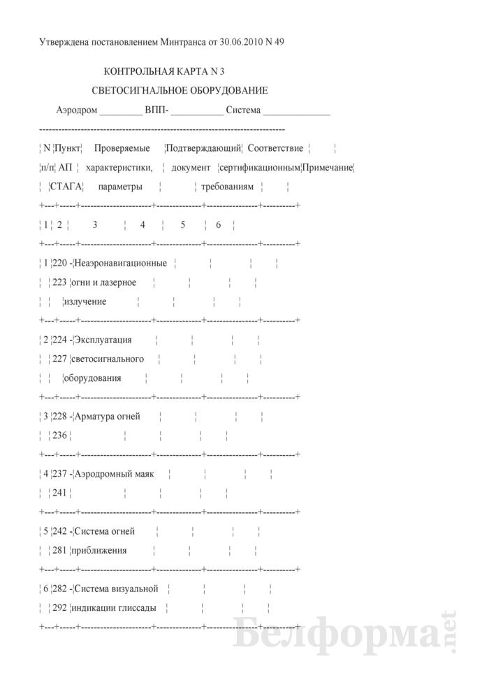 Контрольная карта № 3. Светосигнальное оборудование. Страница 1