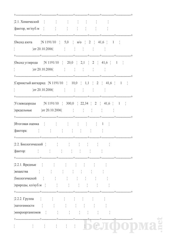 Пример заполнения карты аттестации рабочего места по условиям труда. Страница 2