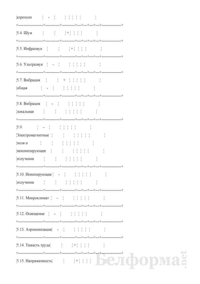 Пример заполнения карты аттестации рабочего места по условиям труда. Страница 13